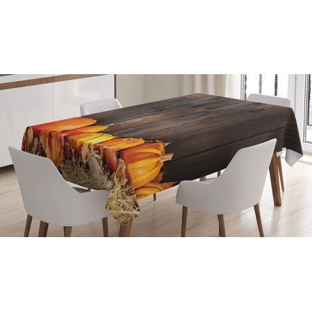 Harvest Tablecloth, Thanksgiving Themed Pumpkins Many Shapes and Sizes in Hay Wooden Board Background, Rectangular Table Cover for Dining Room Kitchen, 52 X 70 Inches, Brown Orange, by Ambesonne - Thanksgiving Theme