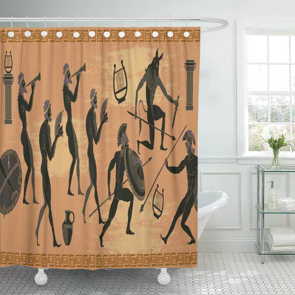 YUSDECOR Greek Ancient Greece Black Figure Pottery Hunting for Minotaur  Bathroom Decor Bath Shower Curtain 12x12 inch