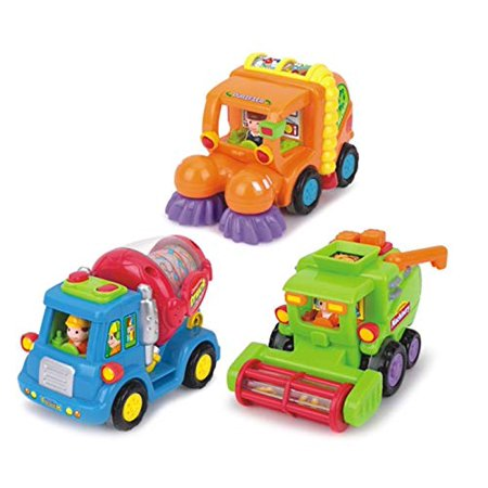 Push and Go Friction Powered Car Toys  Set of 3 - Cement Mixer Truck, Street Sweeper, Harvester Truck - Push Forward and Running Toys