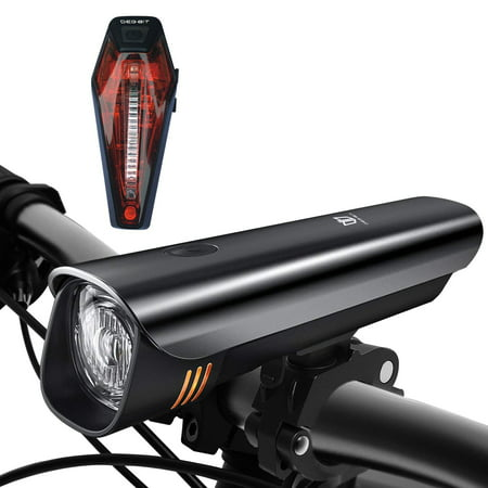 Bike Light Set, FrontTech Powerful USB Rechargeable Bicycle Lights, Waterproof Cycle Headlight Free Tail Light, Easy Install & Release CREE LED Bike Lights Front and Back for MTB/Road Safety