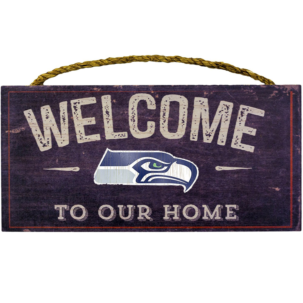 Wood Sign - 6X12 - WELCOME TO OUR HOME - Garage  - NFL - Seattle Seahawks