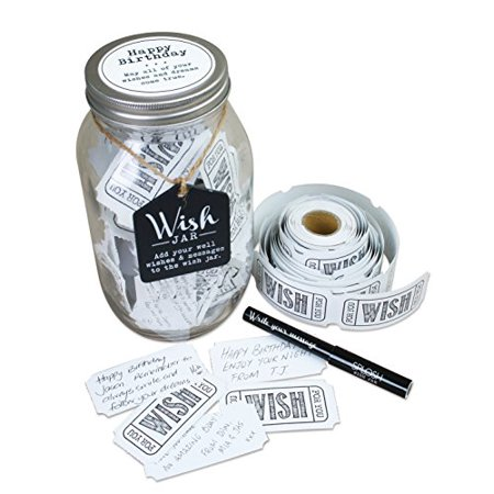 Wish Jar - Top Shelf Happy Birthday Wish Jar Kit Comes with 100 Tickets and Decorative Lid