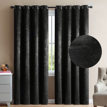 "2 Blackout Room Darkening Window Curtains 84"" Length Black Velour Velvet Grommet Panel Pair Drapes"