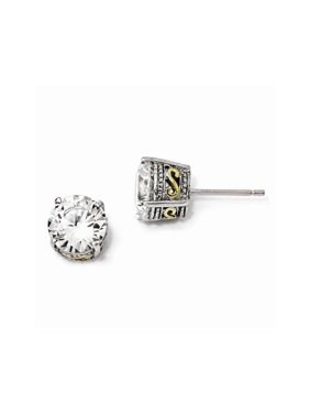 Sterling Silver & Gold-plated 8mm CZ Stud Earrings