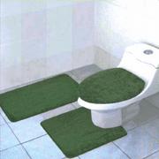 3-Piece Quinn Solid Bathroom Rug Set Bath Mat Contour & Toilet Lid Cover - Hunter Green