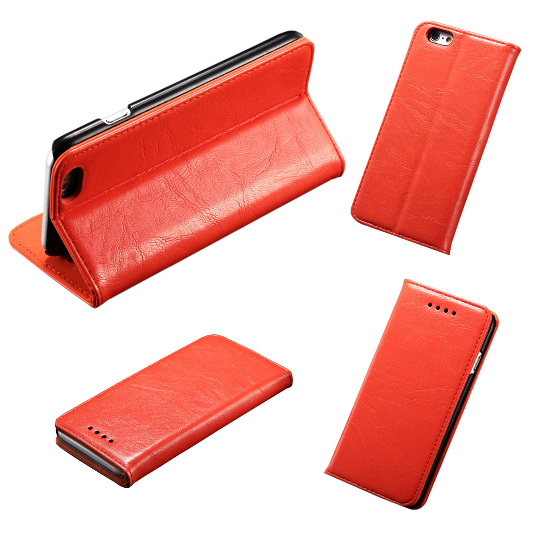 PU Leather Card Slot Phone Flip Stand Case Cover Orange for iPhone 6 Plus 5.5