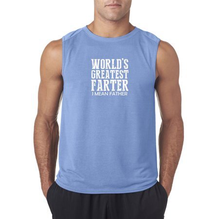 Trendy USA 449 - Men's Sleeveless World's Greatest Farter Father Dad 2XL Carolina Blue