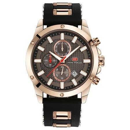 MINI FOCUS Fashion Luminous Quartz Man Watch Water-Proof Silicone Band Men Casual Wristwatch Chrono Sports Style Masculino Relogio + Box
