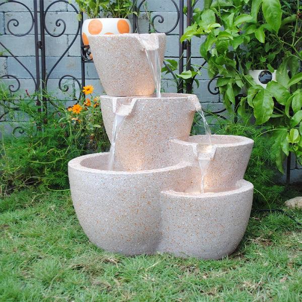 Muiti Pots Sandstone Outdoor Indoor Water Fountain With Led Lights Walmart Com Walmart Com