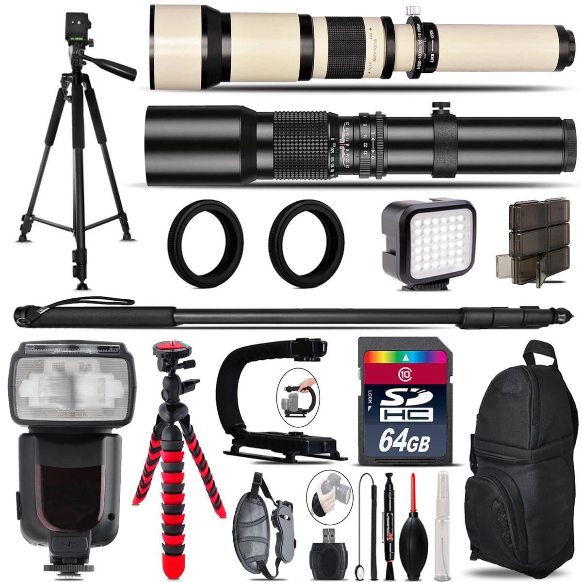 500mm-1300mm Telephoto Lens for Rebel T6 T6i + Pro Flash + LED Light - 64GB Kit