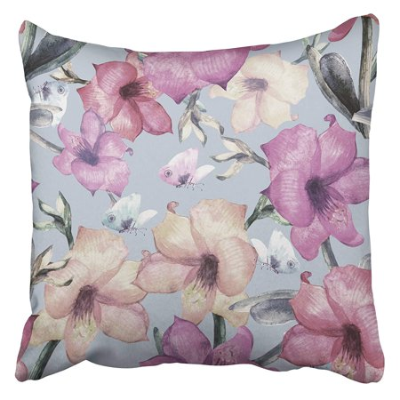 EREHome Colorful Abstract Beautiful Spring Amaryllis with Butterflies Watercolor Anniversary Pillow Case Cushion Cover 18x18 inch - image 1 of 1