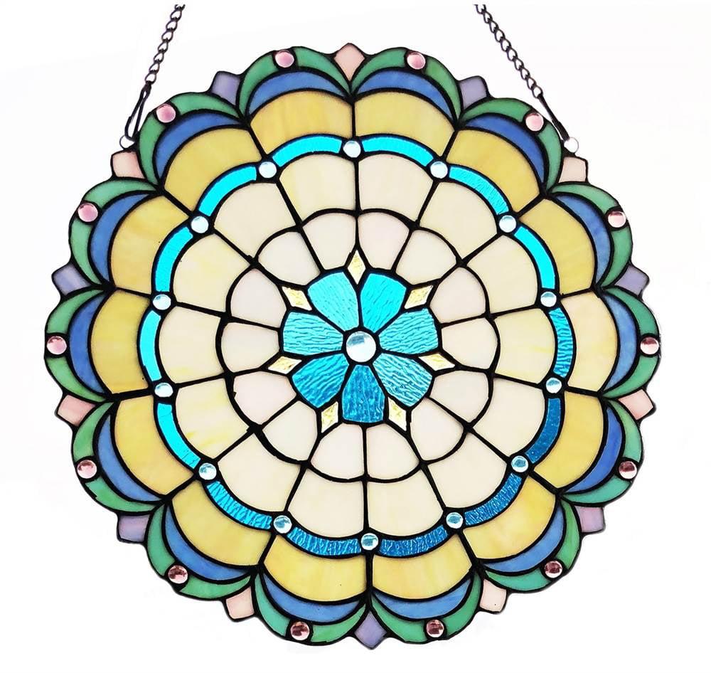 "CHLOE Lighting DAKOTA Victorian Tiffany-glass Window Panel 18"" Wide"