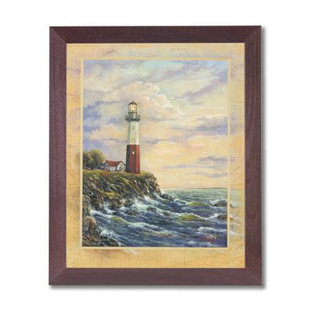 (Ocean Lake Lighthouse Beach Landscape Wall Picture Cherry Framed Art Print)