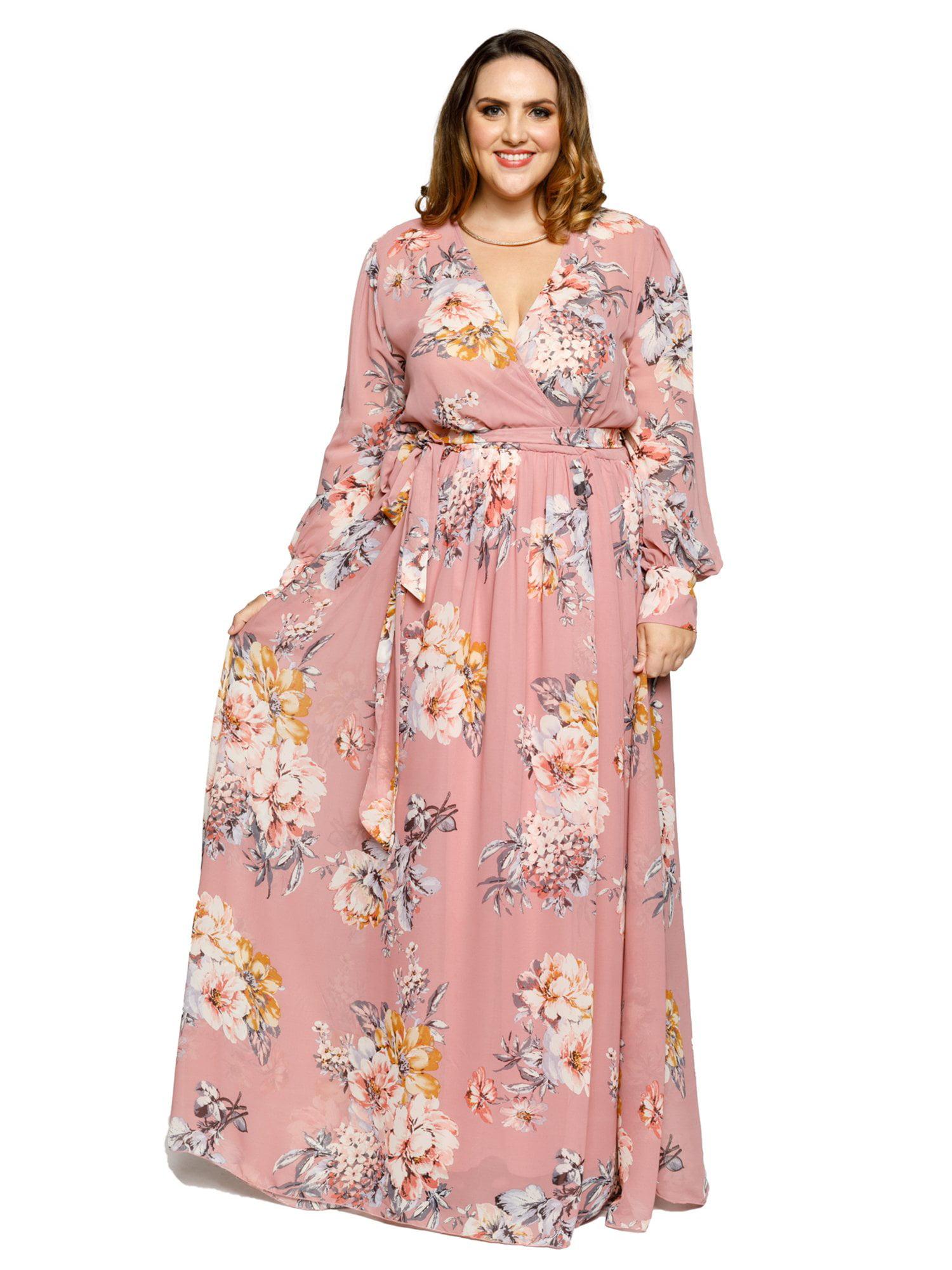 18a45cf538 Xehar - Xehar Women s Plus Size Casual Sexy V-Neck Floral Print Surplice Long  Sleeve Maxi Dress - Walmart.com