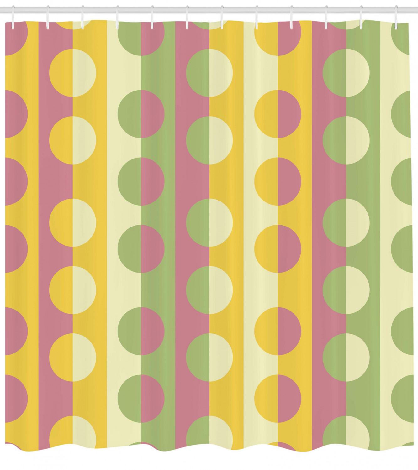 Abstract Shower Curtain Retro Textured Circle Geometric Shapes Over Striped Grid Background Soft Design Fabric Bathroom Set With Hooks Multicolor