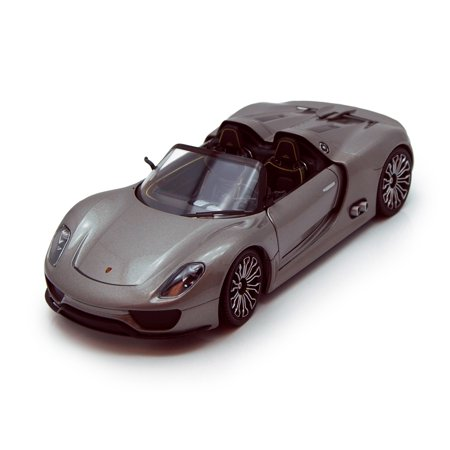 Porsche 918 Spyder Convertible, Gray - Welly 24031 - 1/24 scale Diecast Model Toy Car (Brand New, but NOT IN BOX)