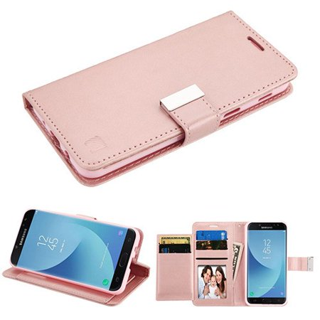 2nd Gen Leather (Phone Case for Samsung Galaxy J7 (2018), J737, J7 V 2nd Gen, J7 Refine Case Leather Flip Credit Card / Cash Wallet Cover Stand Pouch Folio Magnet with extra Slots Case Cover - Rose Gold)