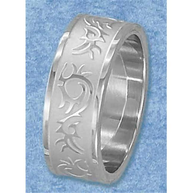 Plum Island Silver SR-3061-14 Stainless Steel Mens Satin Finish and High Polish Tribal Band - Size 14