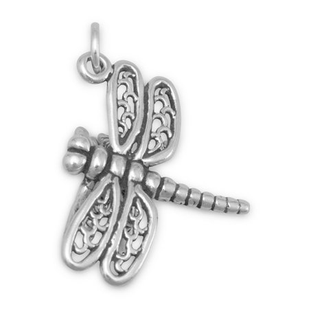 Dragonfly Charm Sterling Silver Lacy Wings Dragonfly Silver Plated Charms