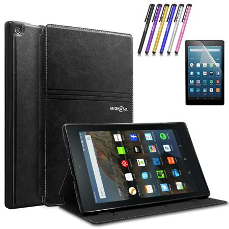 Mignova Folio Case for Amazon Fire HD 8 Tablet (2017 Release 7th Gen) - Smart Cover Slim Folding Stand Case with Auto Wake / Sleep + Screen Protector Film and Stylus Pen (Black) for $<!---->