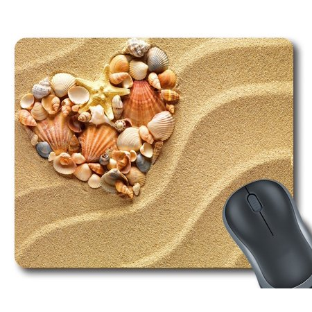 GCKG Love Heart Of Sea Shells Starfish Beach Mouse Pad Personalized Unique Rectangle Gaming Mousepad 9.84