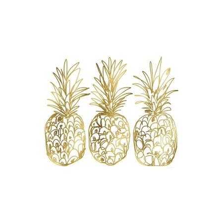 Three Golden Pineapples Print Wall Art By Linda Woods