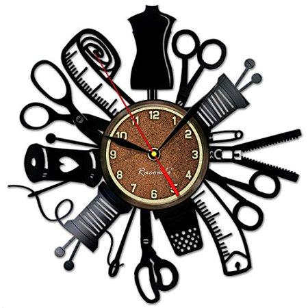 Handmade Solutions Sewing Instrument Wall Vinyl Art Clock Scissors Kitchen Decor Interior Design - Best Gift for Tailor Him Her Mom