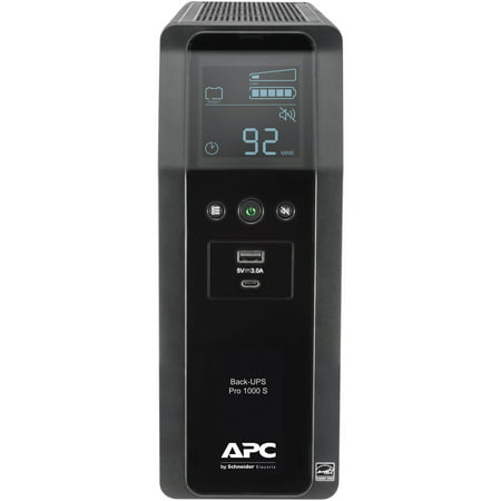 APC Sine Wave UPS Battery Backup & Surge Protector, 1000VA APC Back-UPS Pro  (BR1000MS)