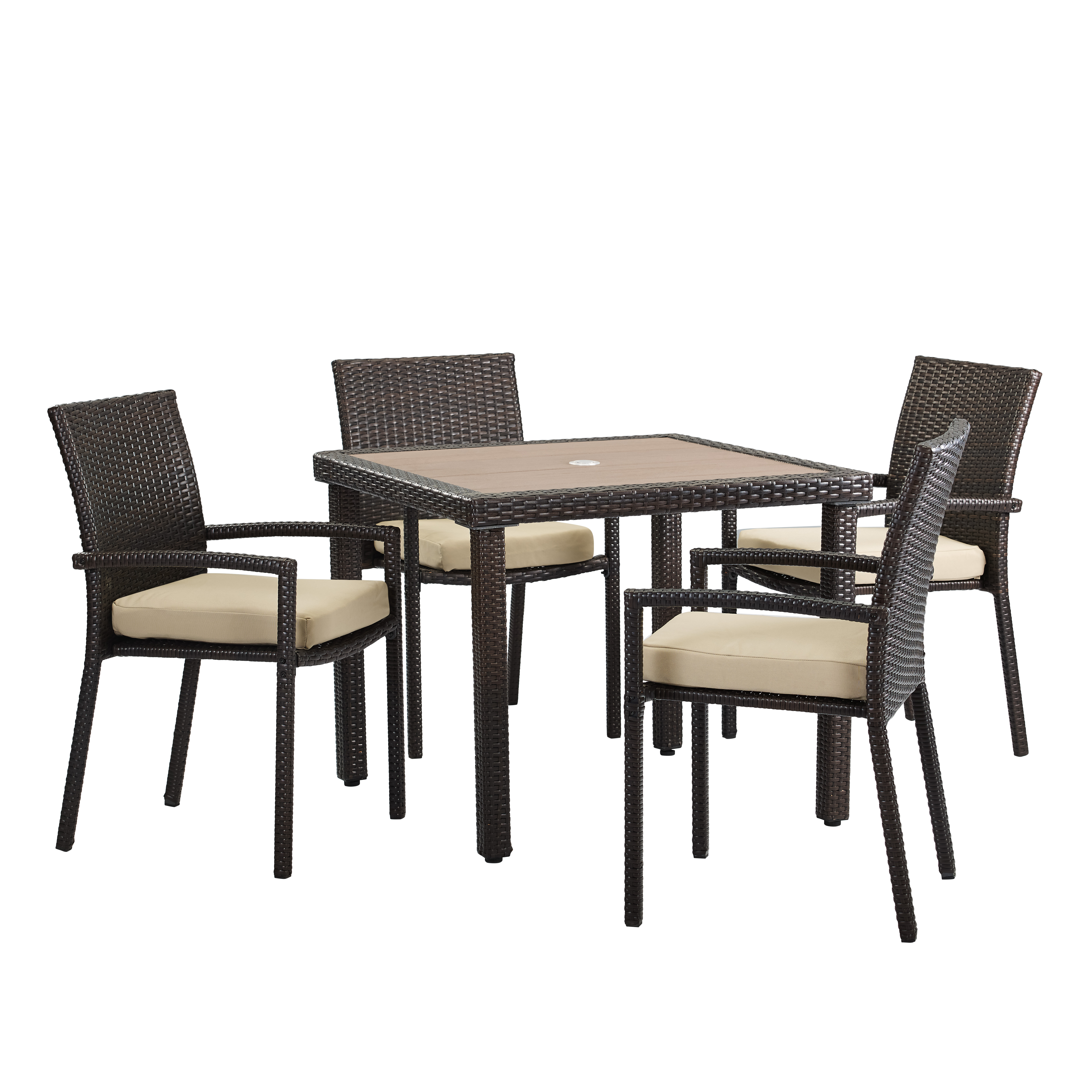 Positano 5-Piece Dining Set, Brown Wicker Rattan, Tan Cushions