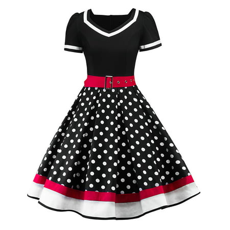 Vintage Women 50s Hepburn Style Polka Dot Pinup Evening Party Rockabilly Swing Housewife Dress](50s Clothing Girls)