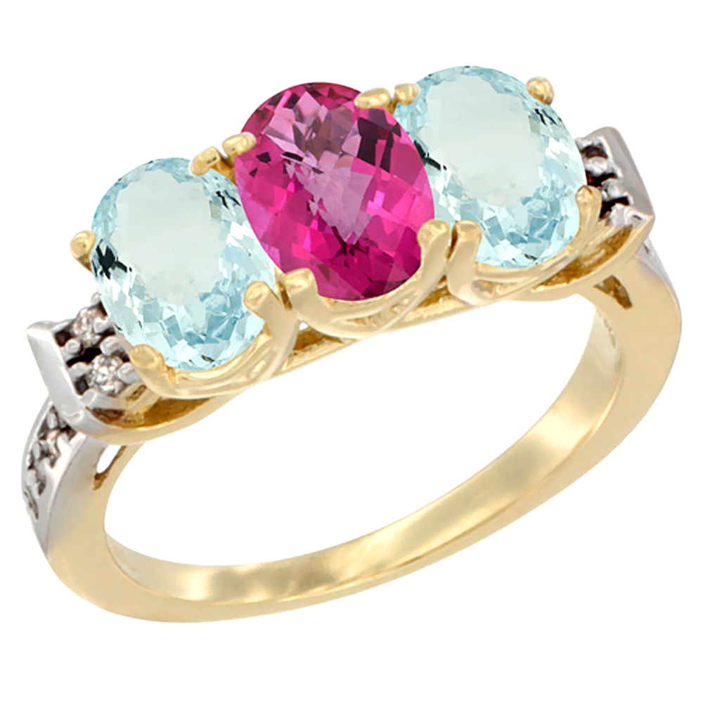 14K Yellow Gold Natural Pink Topaz & Aquamarine Sides Ring 3-Stone Oval 7x5 mm Diamond Accent, sizes 5 10 by WorldJewels