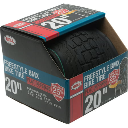 "Bell Flat Defense BMX Freestyle Bike Tire, 20"" x 1.75-2.25"", Black"