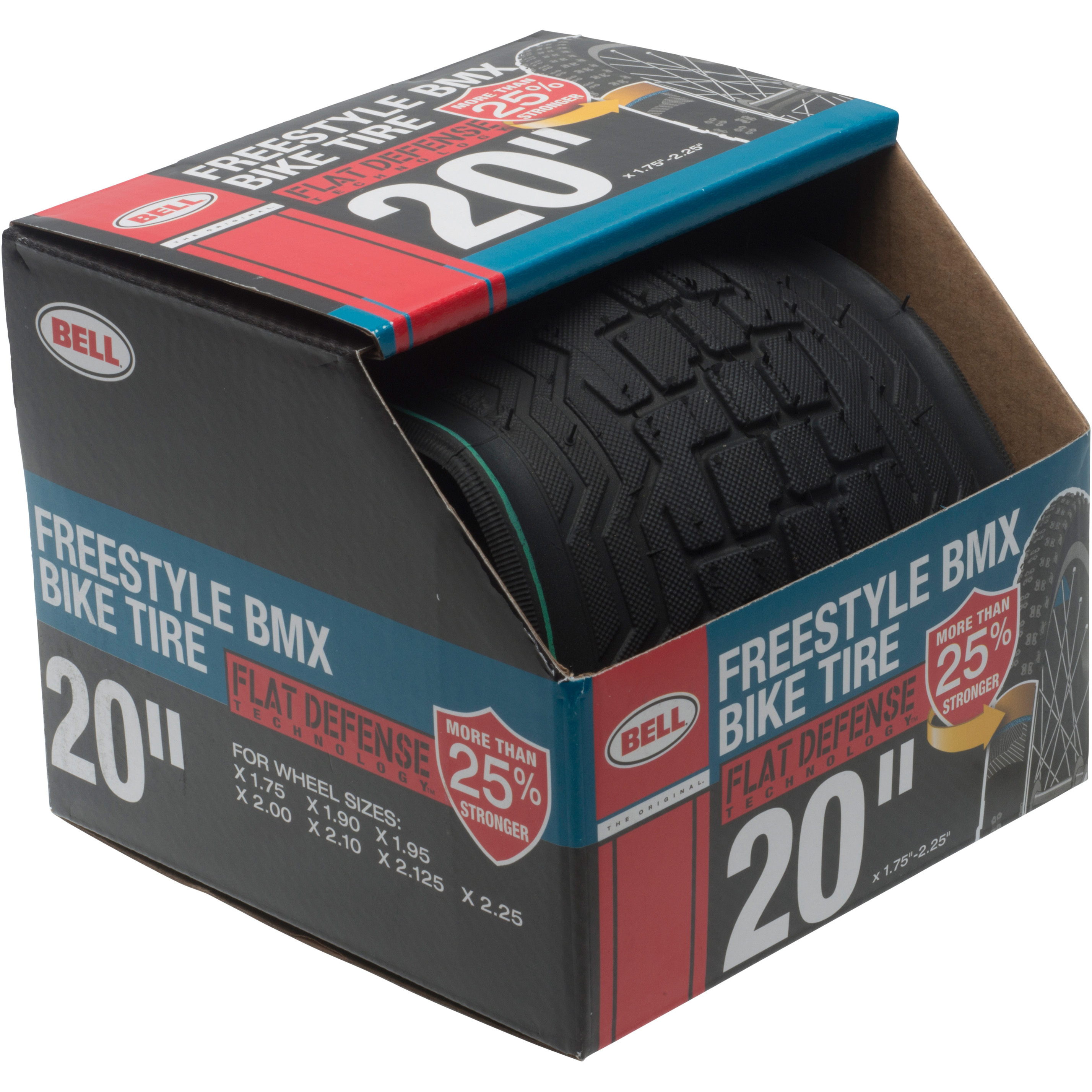 "Bell Sports Flat Defense BMX Freestyle Bike Tire, 20"" x 1.75-2.25"", Black"