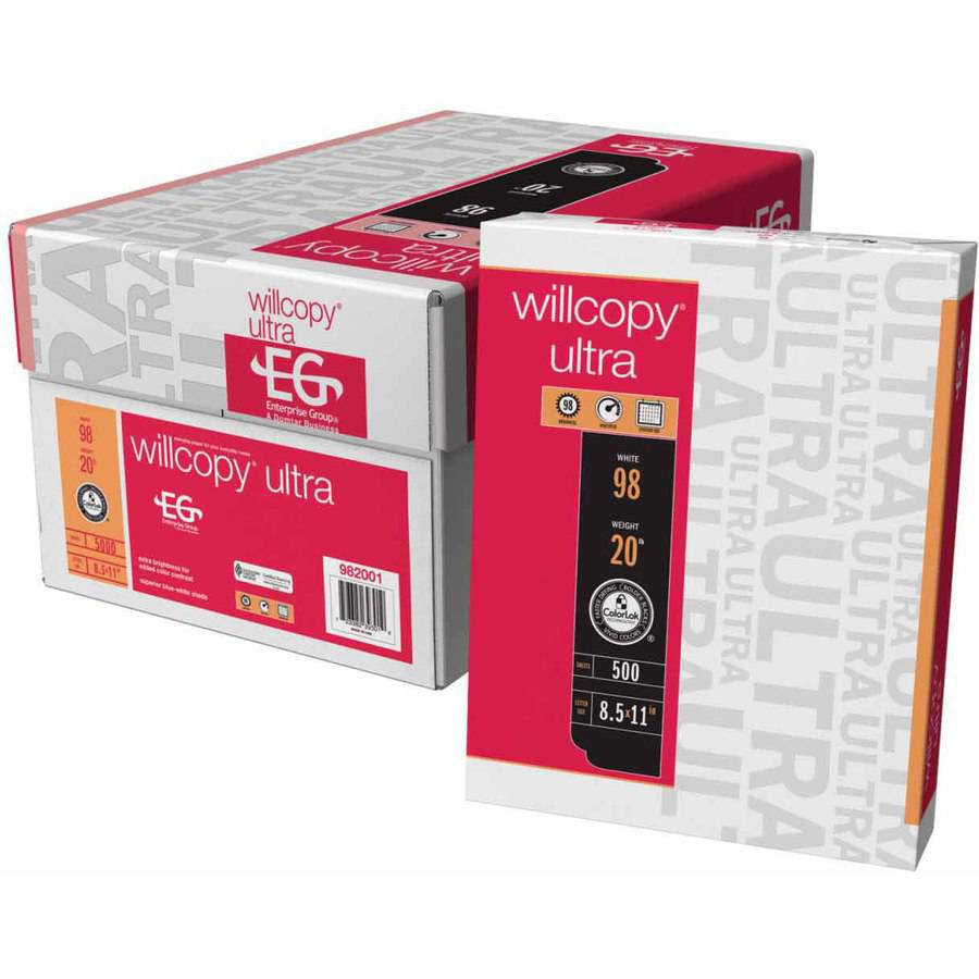 """Willcopy Ultra Multi-Purpose Copy Paper, Letter, 8.5"""" x 11"""", Multiple Weights, White, Pack of 10"""