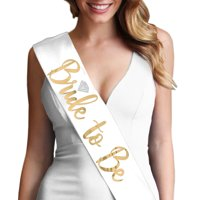 Bride to be with Diamond Metallic Gold Foil White Satin Sash - Bridal Shower, Bachelorette Party Decorations & Supplies