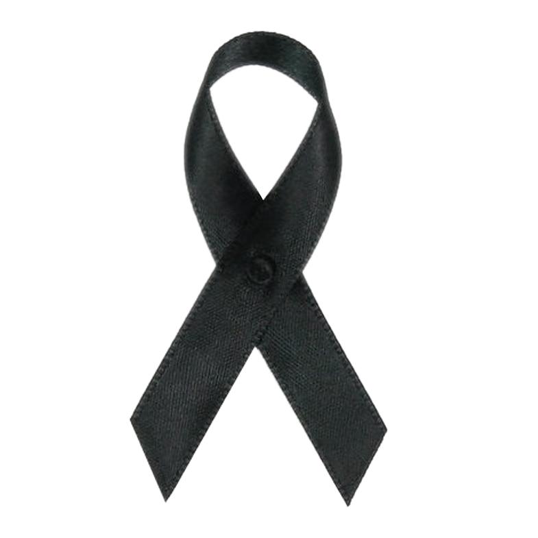 Black Satin Awareness Ribbons - Bag of 250 Lapel Ribbons w/ Clutch Pins