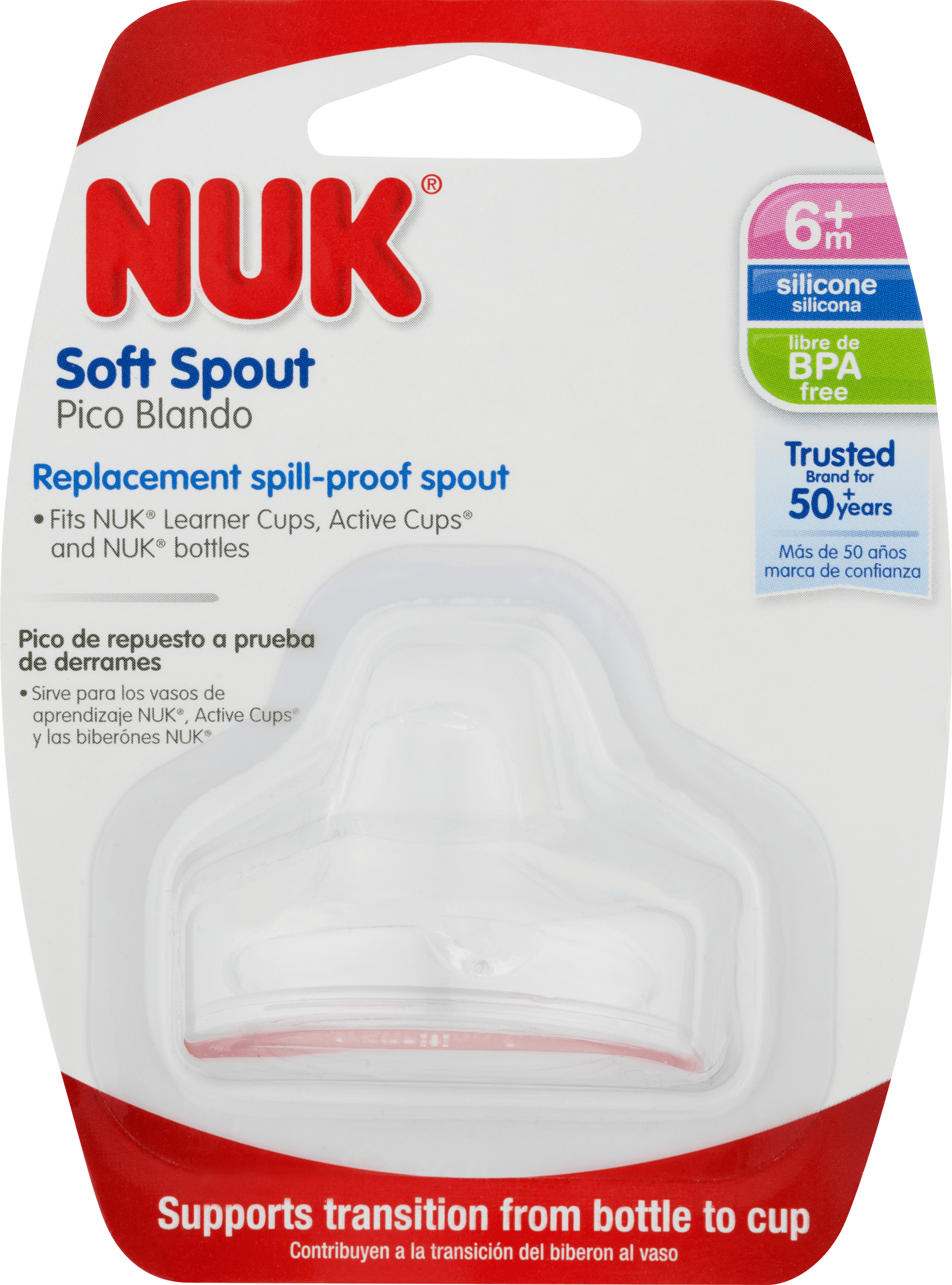 Nuk Clear Silicone Replacement Soft Spouts Pack of 4