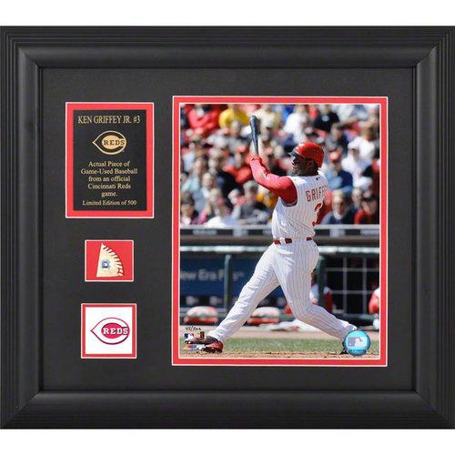 MLB - Ken Griffey Jr. Cincinnati Reds Framed 8x10 Photograph With Game-Used Baseball Piece & Team Logo