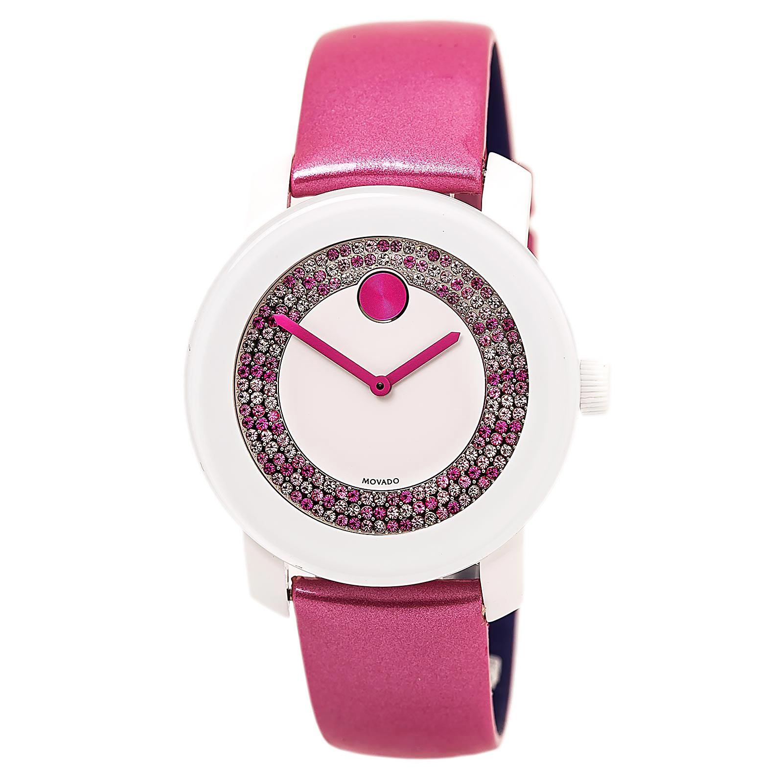 Movado 3600319 Women's Bold White Dial Pink Leather Strap Crystal Watch, Pink/ White