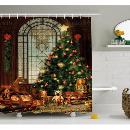 Christmas Shower Curtain Magical Vintage Ambiance Big Old Fashioned Window Xmas Tree Various Presents