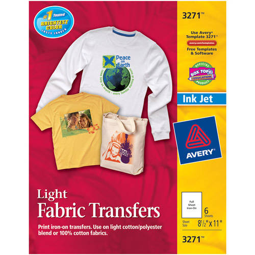 Avery T-shirt Transfers for Inkjet Printers 3271, 6-Pack