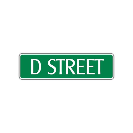 D Street Name Letter Aluminum Metal Novelty Street Sign Wall Decor