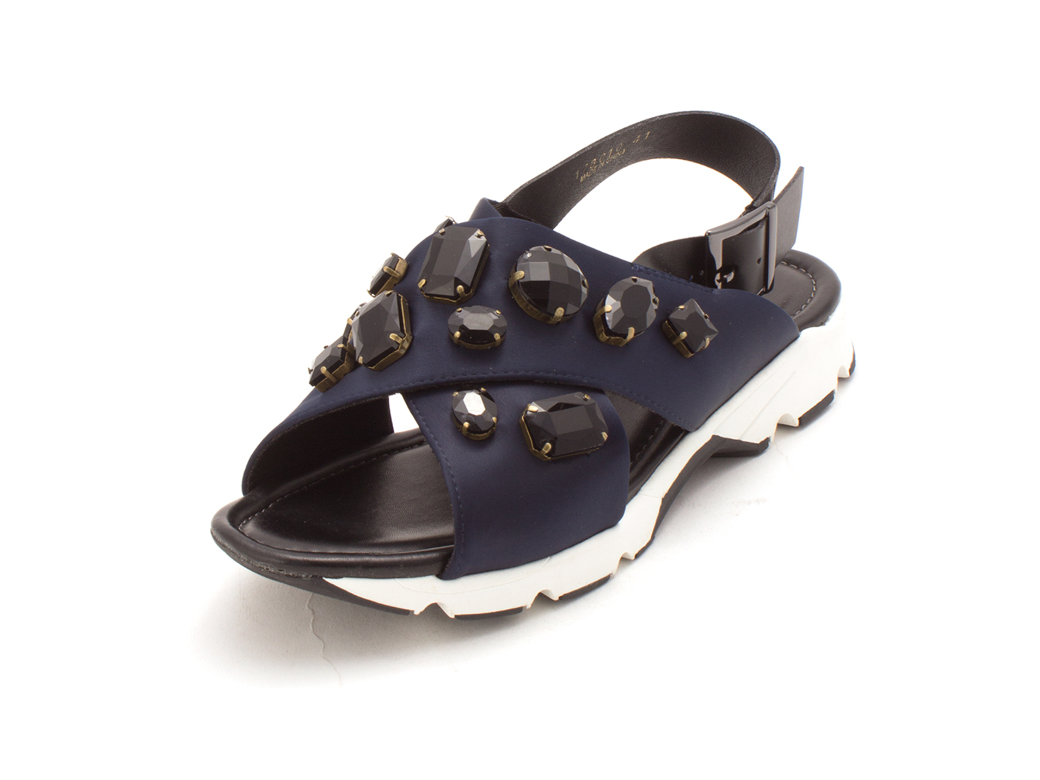 Size 5.5 ALL BLACK Womens Royal Cross Open Toe Casual Slingback Sandals Navy