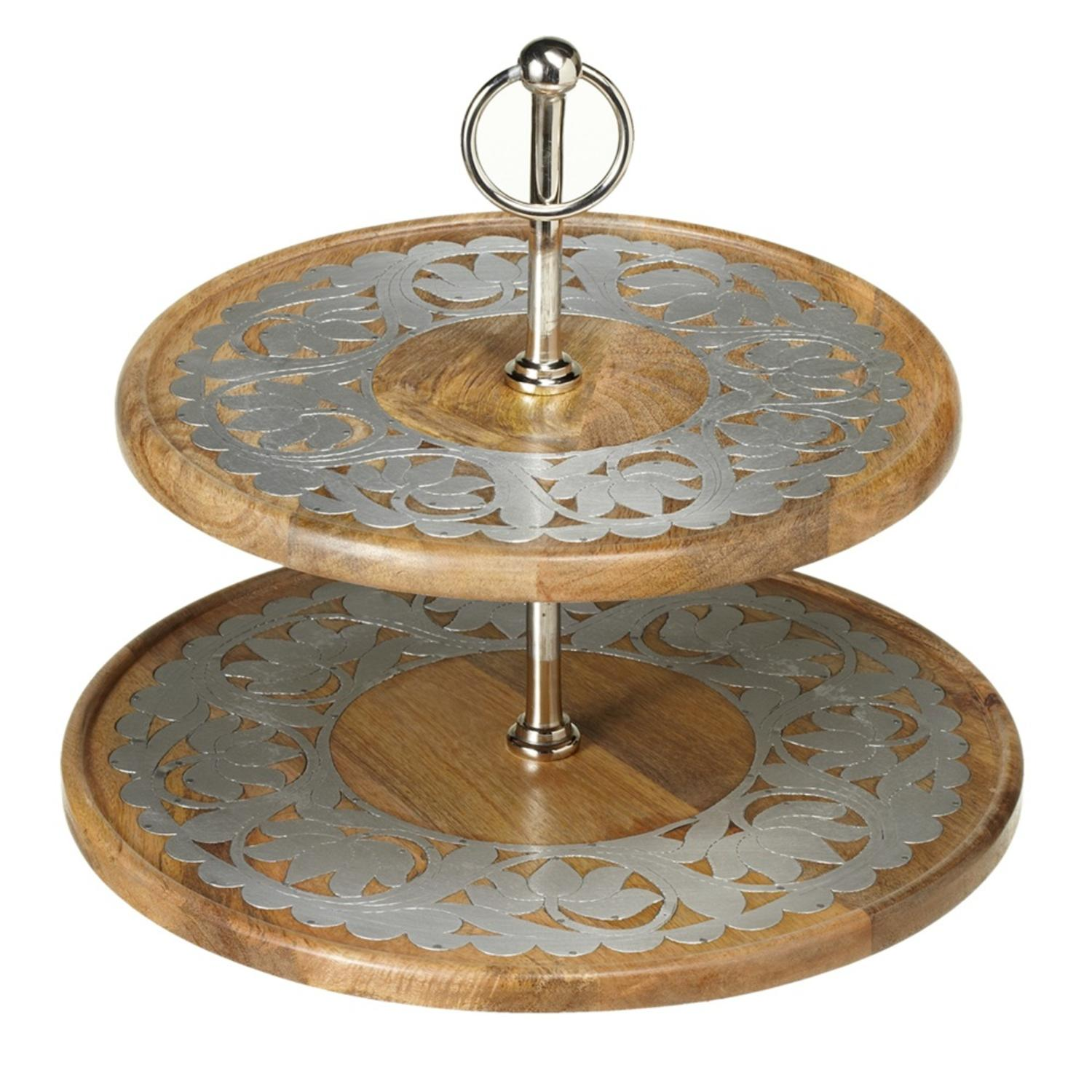 "14"" Wooden Brown and Silver Floral Designed Inlay Two Tier Server"