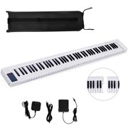 Gymax 2 in 1 Attachable Digital Piano Keyboard 88/44 Touch sensitive Key w/ MIDI White