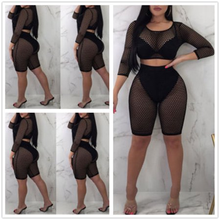 Hot Women 2 pieces Black Mesh Hollow Out Short Crop Tops Bodycon Perspective Female Trendy Women's Set