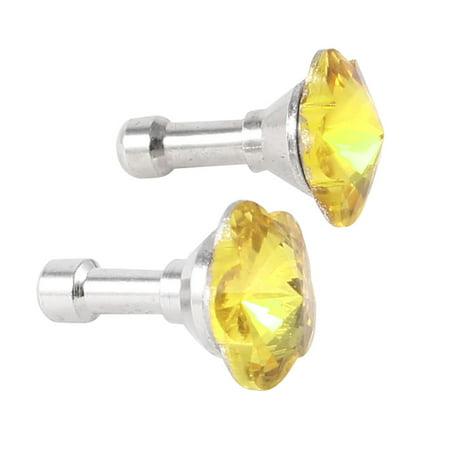 - Unique Bargains 2 Pcs Yellow Plum Blossom Design Crystal 3.5mm Earphone Ear Cap Dust Plug
