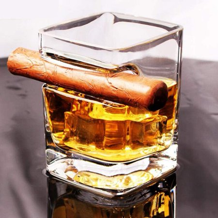 Ergonomically Designed Cigar Whiskey Glass,with Cigar Holder Transparent 11 OZ - image 1 de 7