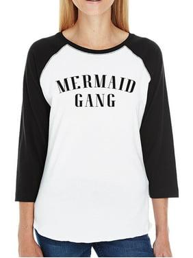 203e31946c1b7f Product Image Mermaid Gang Womens 3 4 Sleeve Baseball Tee Cute Summer  Graphic Tee. 365 Printing
