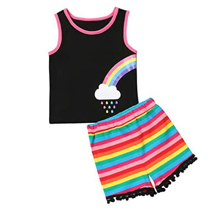 Styles I Love Baby Twin Girl Matching Rainbow Tank Top with Pom Pom Shorts 2pcs Best Friend Inspired Outfit (Right Rainbow, 80/6-12